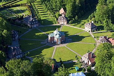Aerial of the eight pavilions in a star formation at Clemenswerth palace and hunting lodge, Soegel, Lower Saxony, Germany