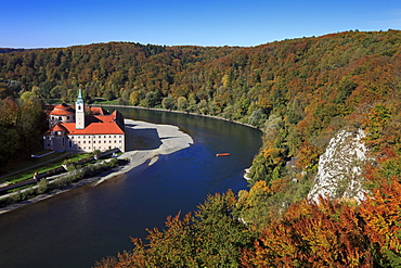 View to the Danube sinuosity at Weltenburg monastery, Danube river, Bavaria, Germany