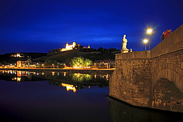 View from the old Main bridge to Marienberg castle, Wuerzburg, Main river, Franconia, Bavaria, Germany