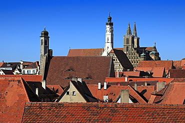 View over the city to St. Johannis church, the tower of the town hall and to St. Jakob church, Rothenburg ob der Tauber, Tauber valley, Romantic Road, Franconia, Bavaria, Germany