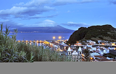 View at the town of Horta and neighbouring island Pico at dusk, Island of Faial, Azores, Portugal, Europe