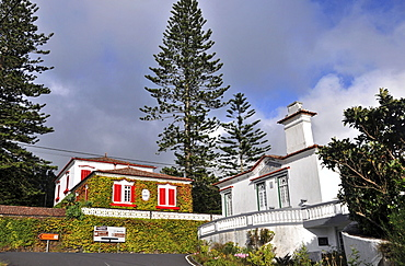 Houses at a crossroad, Island of Faial, Azores, Portugal, Europe