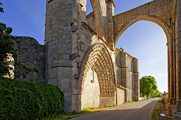 Gate at ruins of the monastery San Anton in the sunlight, Province of Burgos, Old Castile, Castile-Leon, Castilla y Leon, Northern Spain, Spain, Europe