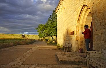 Entrance of the chapel Ermita de San Nicolas in the light of the evening sun, Province of Burgos, Old Castile, Castile-Leon, Castilla y Leon, Northern Spain, Spain, Europe
