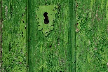 Keyhole at an old door, Castrillo de los Polvazares, Province of Leon, Old Castile, Castile-Leon, Castilla y Leon, Northern Spain, Spain, Europe
