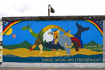 The East Side Gallery along Muehlenstrasse, the longest preserved piece of Berlin Wall, with 1.3 kilometres length the longest open air gallery of the world, Berlin Wall Trail, Friedrichshain, Berlin, Germay, Europe
