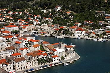 High angle view of Pucisca with harbor, Pucisca, Brac, Split-Dalmatia, Croatia