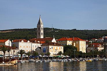Harbor and church Sveti Petar, Supetar, Brac, Split-Dalmatia, Croatia