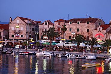 Harbor promenade in the evening, Supetar, Brac, Split-Dalmatia, Croatia