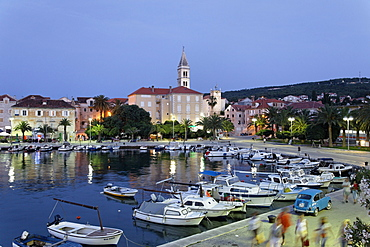 Harbor and church St Peter, Sveti Petar, Supetar, Brac, Split-Dalmatia, Croatia