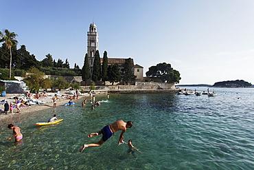 Beach near Franciscan Monastery, Sridnji, peninsula, Hvar, Hvar, Split-Dalmatia, Croatia
