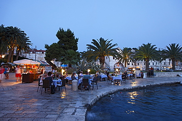 Restaurant at pier, Hvar town, Hvar, Split-Dalmatia, Croatia