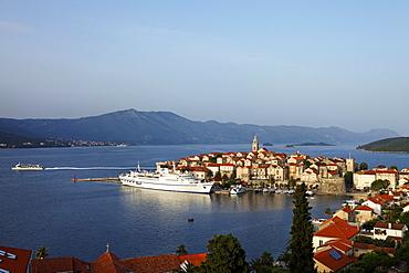View to Old Town of Korcula, Korcula, Dubrovnik-Neretva county, Dalmatia, Croatia