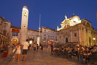 Church of Saint Blaise, Sv Vlaha and clock tower in the evening, Luza square, Dubrovnik, Dubrovnik-Neretva county, Dolmatia, Croatia