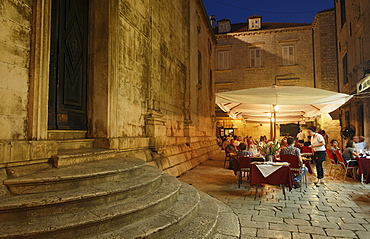 Pavement cafe near Church of Saint Blaise in the evening, Luza square, Dubrovnik, Dubrovnik-Neretva county, Dalmatia, Croatia