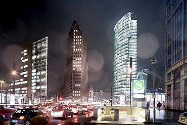 Potsdamer Platz, from left to right, Renzo Piano Tower, Hans Kollhoff Tower, Bahn Tower, Berlin-Mitte, Berlin, Germany, Europe