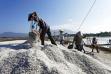 Salt production, Doc Let Beach, Nha Trang, Khanh Ha, Vietnam