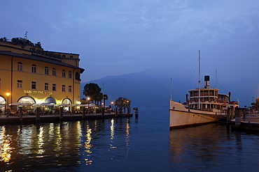 Quay in the evening, Paddle Wheel Steamer at the pier, Riva, Lake Garda, Trento, Italy