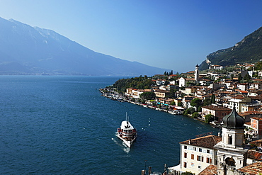 Paddle Wheel Steamer, view over Limone, Lake Garda, Lombardy, Italy