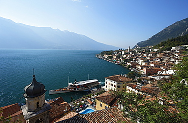 Excursion boat, Church, view over Limone, Lake Garda, Lombardy, Italy