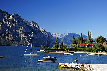 People on the beach, Lake Garda, Veneto, Italy