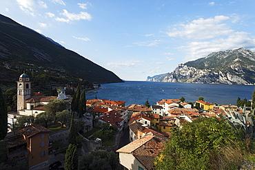 Church, view over Lake Garda, Torbole, Lake Garda, Trento, Italy