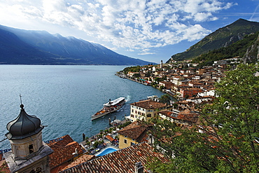 Excursion boat, view over Limone, Lake Garda, Lombardy, Italy