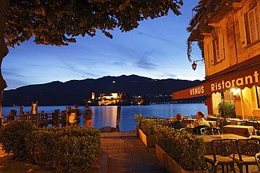Isola San Giulio by night, Orta San Giulio, Lago d' Orta, Piedmont, Italy