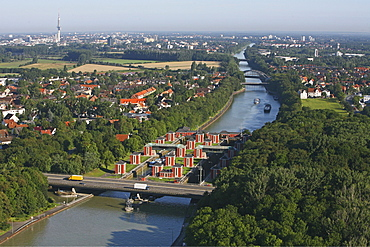 aerial view of the Hindenburg locks on the Mittelland Canal Midland Canal, in Anderten, Hanover Lower saxony, northern Germany