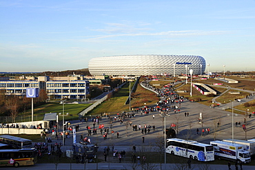 People in front of the Allianz Arena, Munich, Bavaria, Germany, Europe