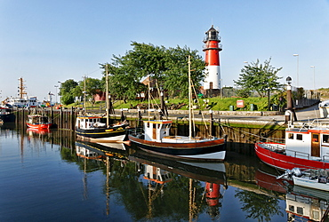Port and Lighthouse, Buesum, North Sea, Dithmarschen, Schleswig-Holstein, Germany