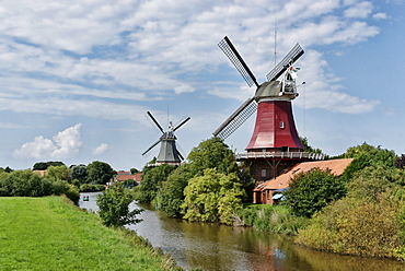 Twin windmills, Greetsiel, East Frisia, Lower Saxony, Germany
