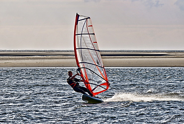 Windsurfer on the North Sea, North Sea Spa Resort Langeoog, East Frisia, Lower Saxony, Germany