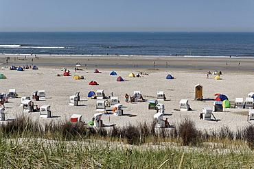People sunbathing on the beach, Beach life, North Sea Spa Resort Spiekeroog, East Frisia, Lower Saxony, Germany