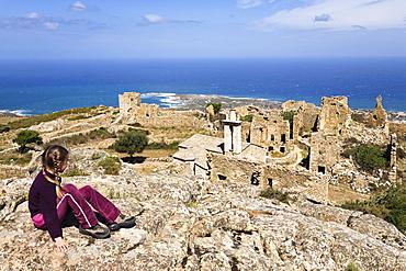 Ruins on Capo d'Occi above Algajola village, North-west coast, Balagne region, Corsica, France, Europe