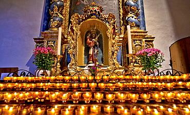 Prey candles in Muenster of the Frauenwoerth, Abbey Frauenchiemsee, Frauenchiemsee, Fraueninsel, Chiemsee, Chiemgau, Upper Bavaria, Bavaria, Germany