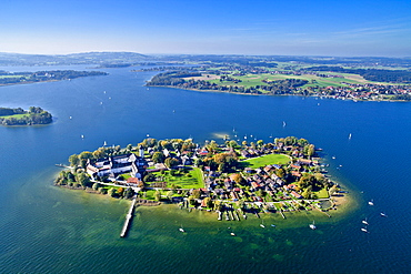 Aerial view of the Frauenchiemsee Abbey, Fraueninsel in the background with Herrenchiemsee on the left side, Chiemsee, Chiemgau, Upper Bavaria, Bavaria, Germany