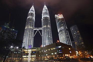 Petronas Towers at night, Kuala Lumpur, Malaysia, Asia