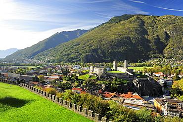 View to Castelgrande and Bellinzona, Castle Montebello, Bellinzona, UNESCO World Heritage Site Bellinzona, Ticino, Switzerland, Europe