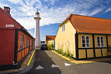 Framed houses and lighthouse, in Roenne, Ronne, Bornholm, Denmark, Europe