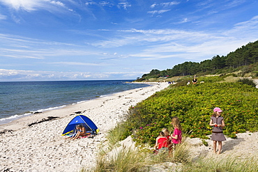 Children on Baltic Sea beach, Hasle, Bornholm, Denmark