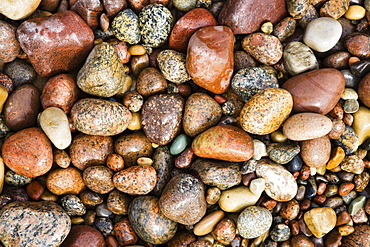 Colouful stones on the beach, Hasle, Bornholm, Denmark, Europe