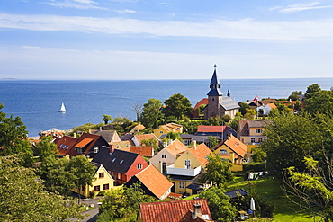 Gudhjem village at the east coast, Bornholm, Denmark, Europe
