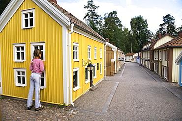 Girl at Astrid Lindgren Vaerld, Astrid Lindgren World, Vimmerby, Smaland, South Sweden, Europe