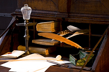 Composing room at Bachhaus, supposable house of Johann Sebastian Bach's birth, Eisenach, Thuringia, Germany, Europe