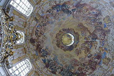 Ettal minster, Benedictine monastry, view at dome with fresco, painted by Johann Jakob Zeiller and Martin Knolle, Ettal, Bavaria, Germany, Europe