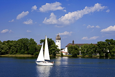 Frauenchiemsee minster, also called Frauenwoerth, Benedictine monastry, Chiemsee, Bavaria, Germany, Europe