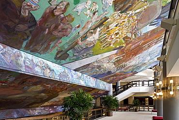Ceiling fresco Gesang vom Leben in the foyer of the new Gewandhaus in Leipzig, Saxony, Germany, Europe