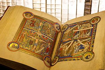 Opened book at Herzog August Bibliothek, Wolfenbuettel, Lower Saxony, Germany, Europe