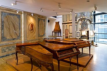 Exhibition of instruments in Haendel-Haus, Halle an der Saale, Saxony Anhalt, Germany, Europe